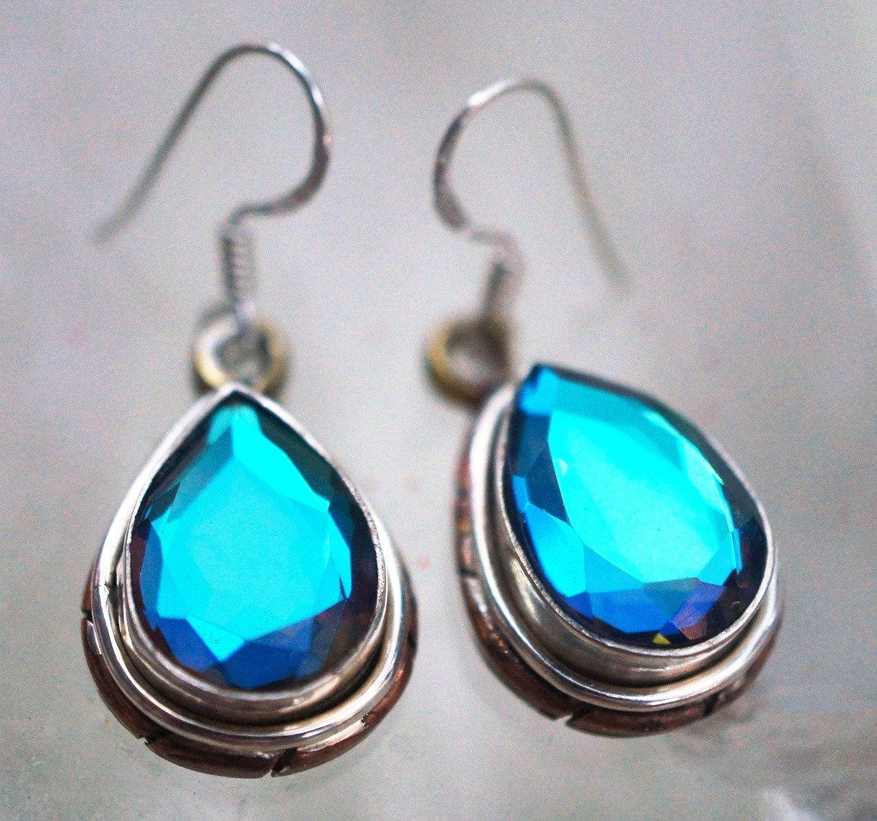 glass, copper sterling silver, earrings